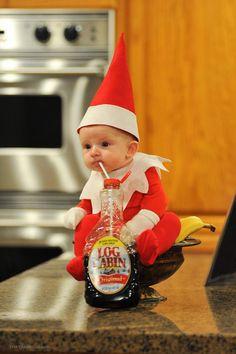 Baby elf on shelf christmas photos Halloween Bebes, Old Halloween Costumes, Baby Costumes, Baby Elf Costume, Halloween Baby Pictures, Newborn Halloween, Family Halloween, Halloween Crafts, Halloween Party