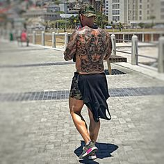Awesome back tattoo on Nic Gargassoulas in Cape Town, South Africa