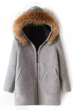 Chic Women's Long Sleeve Fur Collar Hooded Pocket Woolen Coat