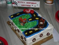 Cars Scene Cake: For my son's 3rd birthday he wanted a Cars cake with McQueen, Mater and the tractor on it.  I saw a Cars cake on this site with the number for a road and