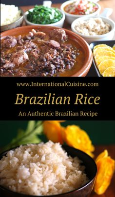 Brazilian rice is flavored with onion when it is served alongside the national dish called feijoada.  Get the delicious recipe and be sure to join the culinary journey around the world when you stop by.