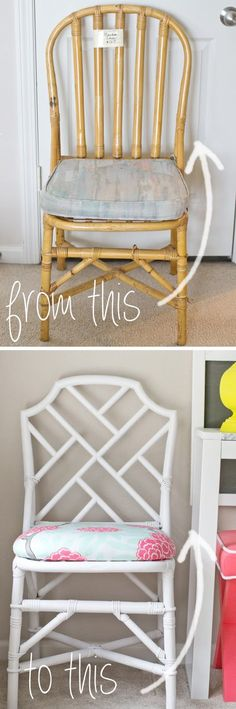sarah m. dorsey designs: Plain Rattan Chair to Chinese Chippendale Chair #ChairMakeover