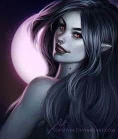 Marceline Female vampire - could be a newly turned elf, RPG character inspiration Female Vampire, Vampire Queen, Vampire Girls, Vampire Art, Dark Fantasy, Roman Fantasy, Fantasy Art, Adventure Time Anime, Adventure Time Marceline