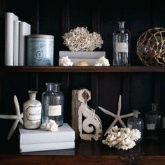 Shells, coral,bottles, white covered books - all contrast nicely with the dark wood