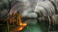 Inside a gypsum mine.