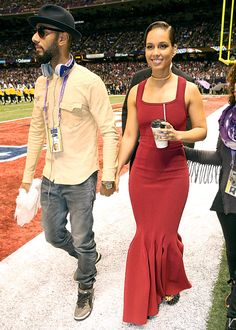 Alicia Keys and husband Swizz Beatz attend Super Bowl 2013 at Superdome in New Orleans on 2/3/13