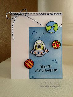 Pink Ink Originals: You're My Universe {Paper Smooches} Creative Birthday Cards, Handmade Birthday Cards, Diy Birthday, Creative Cards, Sister Birthday, Birthday Cards For Boyfriend, Diy Gifts For Boyfriend, Dear Boyfriend, Boyfriend Card