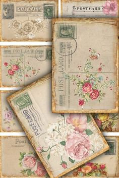 Vintage flower postcards
