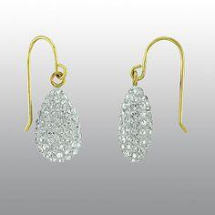 10KT Gold N Ice Dangle Teardrop Earrings