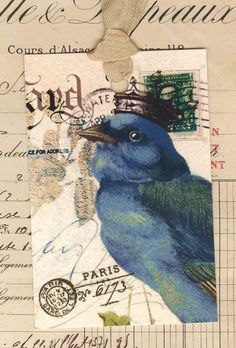 Bird Tags Vintage Bluebird with crown