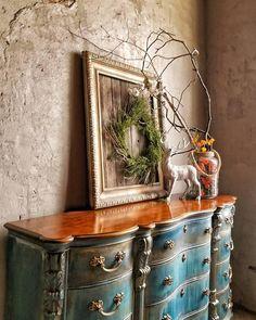 12 drawers 5 SHADES OF BLUES, GOLDS, CREAM, BLACK, METALLIC HIGHLIGHTS SOLID WOOD 74l x 21w x 43h