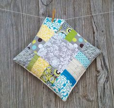 Quilted Pillow Cover Patchwork Pillow Throw Pillow by TheUpsyDaisy, $35.00