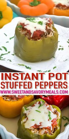 Best Instant Pot Stuffed Peppers [VIDEO] - Sweet and Savory Meals Instant Pot Stuffed Pepper is the perfect blend of ground beef seasoning and rice. This meal is very easy to make and cooks in a fraction of time in the Pressure Cooker. Best Instant Pot Recipe, Instant Pot Dinner Recipes, Instant Pot Pressure Cooker, Pressure Cooker Recipes, Pressure Cooking, Cooking Stuffed Peppers, Instapot Stuffed Peppers, Pressure Cooker Stuffed Peppers, Crockpot Recipes