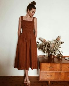 brown Spaghetti Strap pockets summer cottn linen dress 30 Awesome Jacket For Women Winter Casual Outfits Orange Midi Dress, Burnt Orange Dress, Orange Dress Summer, Orange Skirt, Rust Orange, Orange Brown, Look Retro, Boho Beautiful, Mode Outfits
