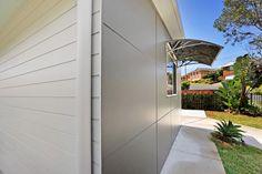 Rubix Panel Smooth + Weatherboard Cladding | Weathertex External Cladding, Home Reno, Reno Ideas, Building Design, Facade, Garage Doors, Smooth, Outdoors, Exterior