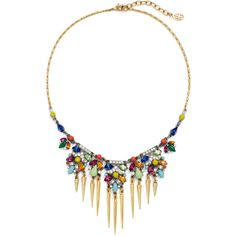 Rental Ben-Amun Bright Deco Spike Necklace ($55) ❤ liked on Polyvore featuring jewelry, necklaces, ben amun necklace, pave necklace, long necklaces, art deco jewelry and colorful necklaces
