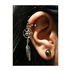 16 Gauge Cartilage Helix Industrial Dream Catcher Charm Turquoise... ($18) ❤ liked on Polyvore featuring jewelry, earrings, piercings, accessories, bijoux, turquoise ear cuff, feather jewelry, turquoise jewellery, body jewellery and feather charm