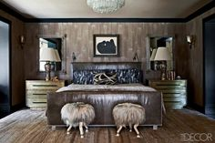 An Art Deco rug with beige, café au lait and dark brown strie adds texture, color and pattern to the master bedroom. Image courtesy Elle Decor...