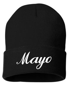 Mayo Winter Knit Hat Beanie Embroidered Will Ferrell Kevin Hart Get Hard Movie by JimmyThePrinter on Etsy https://www.etsy.com/listing/264114257/mayo-winter-knit-hat-beanie-embroidered