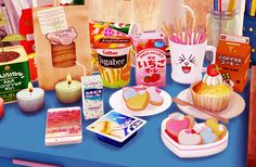 CC LIST Drink,Snack, Pocky in Mugs, ice cream   / bear Shirts and Hanging / Heart Cookies / decoboxes Water color set / Cup Cakes / Bakerybag / Phones I love it!!!♡ thank u!! ^-^