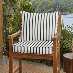 Whitten Stripe Indoor/Outdoor Sunbrella Lounge Chair Cushion Make a HOME Patio Furniture Cushions, Outdoor Lounge Chair Cushions, Cushions On Sofa, Sunbrella Fabric, Porch Furniture, Wicker Dining Chairs, Wicker Sofa, Outdoor Fabric, Woodworking