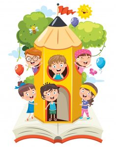 Cute children playing at pencil house Pr. Back To School Special, Back To School Kids, Back To School Party, Funny Kids, Cute Kids, Colors For Toddlers, Kids Background, School Frame, Cartoon Clip
