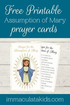 Free printable Assumption of Mary Prayer Cards. #freeresources #homeschoolresources #freeprintables #free #homeschool #printables #coloringpages #feastdays #celebratingfeastdays #feastdayresources #catholic #assumptionofmary #assumption #blessedvirginmary #mary #mothermary #marianfeastdays #gloriousmysteries #raisingcatholics #immaculatakids Assumption Of Mary, Prayers To Mary, Sunday School Activities, Blessed Virgin Mary, Prayer Cards, Love Is Free, Free Things, Chalk Art, Happy Planner