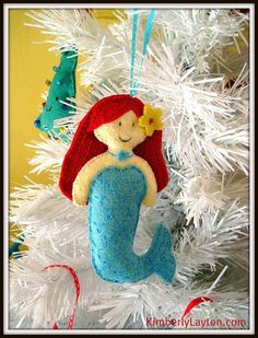 Mermaid Felt Sewing Pattern - Easy Mimi Mermaid Felt Plushie and Ornament - PDF Pattern. $5.95, via Etsy. #holiday #ornament by caitlin