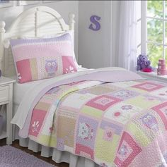Bedding Twin Set Happy Owls Quilt Girl Blankets W Pink Purple Flowers Bed Covers #PemAmerica