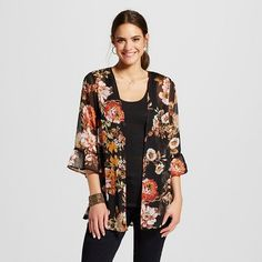 Women's Ruffle Sleeve Kimono Jacket Black - Xhilaration™ (Juniors') : Target