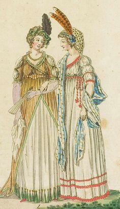 Fashion print (in colour) from 'Journal Fur Fabrik Manufaktur, Handlung und mode', 1798. ModeMuseum Provincie Antwerpen, Public Domain