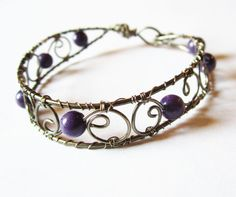 Gothic Victorian Jewelry, Wire Wrapped Bracelet, Purple Bangle. $40.00, via Etsy.