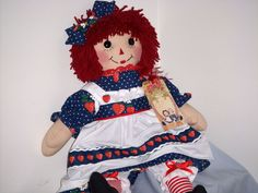 "20"" HANDMADE CLOTH RAGGEDY ANN DOLL MADE BY EVA #HANDMADE #CLOTH"