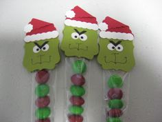 """Grinch Cello Bags - Punches used - Petite Pennants Builder, Decorative Label, Itty Bitty Shapes Pack, Owl Builder and 1"""" Square Punch.  I am selling these at the craft show too."""
