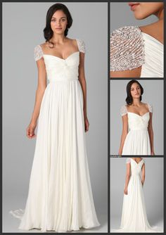 Reem Acra Twist Front Gown with Jeweled Sleeves wedding gown from Jane By Design