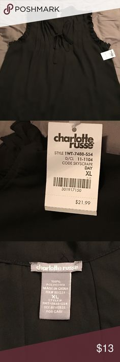Charolette Russe silky top Black size XLG sleeveless dressy top. New with tags! Ruffle detail around arms and a tie in front. Very cute and can be dressed up or down. Charlotte Russe Tops Blouses
