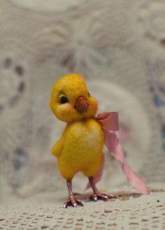 HOLD filzen sonnig gelb wenig kleines Huhn Küken von Korobeynitsa, $62.00