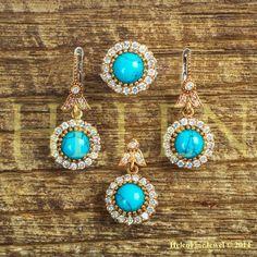 Hurrem Sultan Set Round Shape Turquoise Color 925 Sterling Silver
