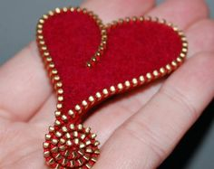 Zipper/Recycled Felted Wool Sweater Zipper Brooch/Pin- Red Asymmetrical Heart Gold Brass Zipper