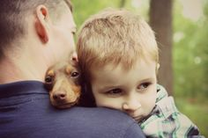 {doxie in the middle} daddy, son + doxie - what a sweet trio! Paige I pinned this for you hope you see it. I Love Dogs, Puppy Love, Dachshund Love, Daschund, Weenie Dogs, Mans Best Friend, Beautiful Creatures, Animal Pictures, Fur Babies