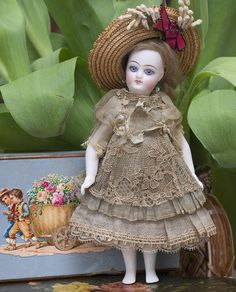 """6 1/2"""" (17 cm) Antique All Original French All-Bisque Mignonette with from respectfulbear on Ruby Lane"""