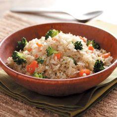 Quinoa Vegetable Pilaf Recipe | jasmine rice, quinoa, broth, onion, carrot, broccoli