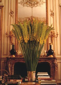 a tall bouquet of ere murus in the 18th-century rue de grenelle townhouse of hubert de givenchy