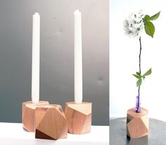Double-sided geometric wood candle holder and bud vase, for tea lights and candle sticks, housewarming gift for her