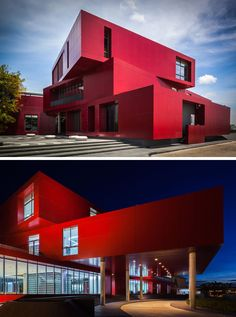 11 Red Houses And Buildings That Aren't Afraid To Make A Statement   This bright red building was built to hold a central kitchen for a restaurant group in Thailand.