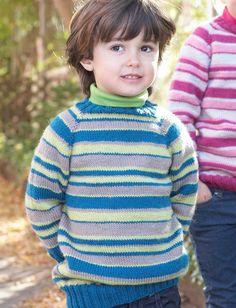 Yarnspirations.com - Patons Kids Top-Down Striped Sweater - Patterns  | Yarnspirations
