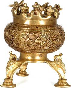 Incense Burner with Nandi, Shiva Linga and Peacock Legs, Brass Brass Sculpture