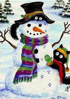 """Black Cats Visit with Frosty Snowman Winter"" par AmyLyn Bihrle"