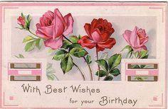 Pretty pink Birthday postcard