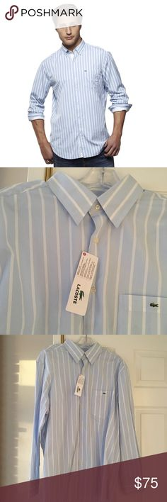 NWT Lacoste Men's Blue & White Oxford Shirt New with tags! Men's size XL blue oxford shirt with white stripes. Button-down. Dress shirt to wear with jeans or slacks. No buttons on collar. Front chest pocket with alligator logo embroidered. Lacoste Shirts Dress Shirts